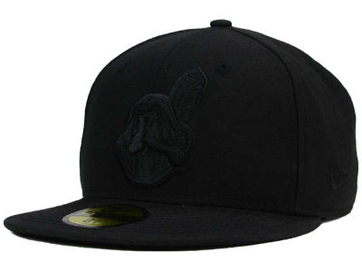 Cleveland Indians MLB Black on Black Fashion 59FIFTY Cap Hats