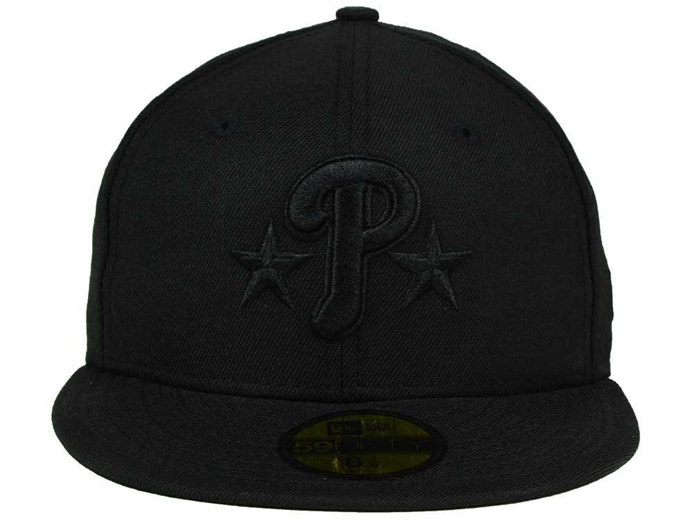sports shoes 3b47a 9691d delicate Philadelphia Phillies New Era MLB Black on Black Fashion 59FIFTY  Cap