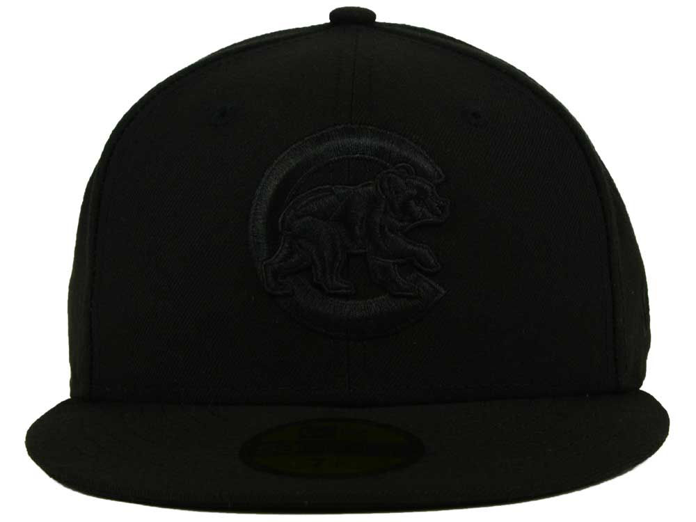 c0df25f4817 Chicago Cubs New Era MLB Black on Black Fashion 59FIFTY Cap 70%OFF ...
