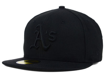 Oakland Athletics MLB Black on Black Fashion 59FIFTY Cap Hats