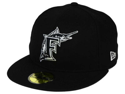 Florida Marlins MLB Black and White Fashion 59FIFTY Cap Hats