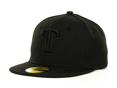 Texas Rangers MLB Black on Black Fashion 59FIFTY Cap Hats