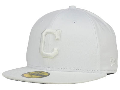 Cleveland Indians MLB White on White Fashion 59FIFTY Cap Hats
