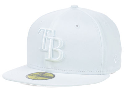 Tampa Bay Rays MLB Triple White 59FIFTY Cap Hats