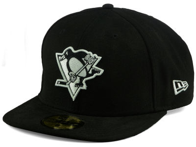 Pittsburgh Penguins NHL Black and White 59FIFTY Cap Hats