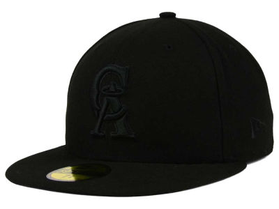Los Angeles Angels MLB Black on Black Fashion 59FIFTY Cap Hats