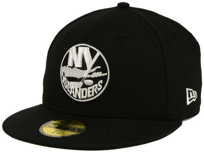 New York Islanders NHL Black and White 59FIFTY Cap Hats