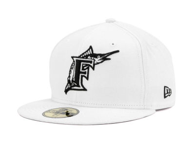 Florida Marlins MLB White And Black 59FIFTY Cap Hats