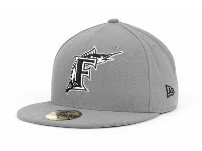 Florida Marlins MLB Gray BW 59FIFTY Cap Hats