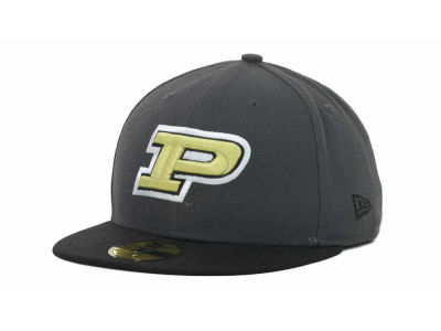 Purdue Boilermakers NCAA 2 Tone Graphite and Team Color 59FIFTY Cap Hats