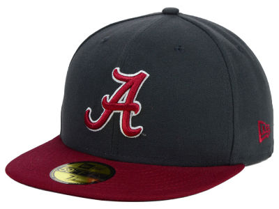 Alabama Crimson Tide NCAA 2 Tone Graphite and Team Color 59FIFTY Cap Hats