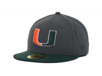 Miami Hurricanes NCAA 2 Tone Graphite and Team Color 59FIFTY Cap Hats