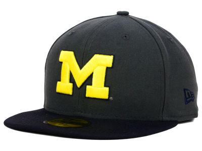 Michigan Wolverines NCAA 2 Tone Graphite and Team Color 59FIFTY Cap Hats