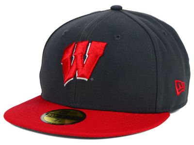 Wisconsin Badgers NCAA 2 Tone Graphite and Team Color 59FIFTY Cap Hats