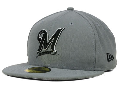 Milwaukee Brewers MLB Gray BW 59FIFTY Cap Hats