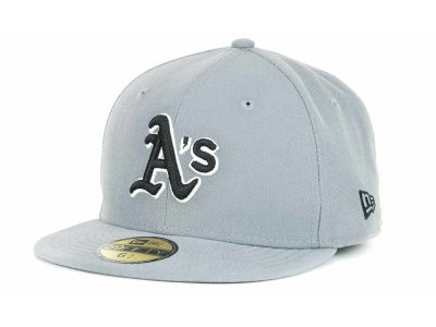 Oakland Athletics MLB Youth Gray Black and White 59FIFTY Hats