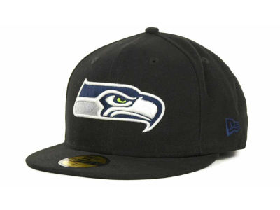Seattle Seahawks NFL Black Team 59FIFTY Cap Hats