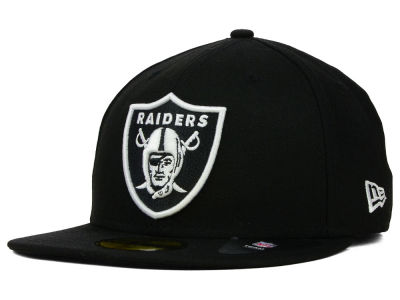 Oakland Raiders NFL Black And White 59FIFTY Cap Hats