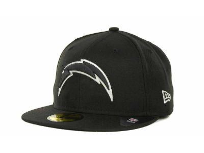 Los Angeles Chargers New Era NFL Black And White 59FIFTY Cap  82078032dab