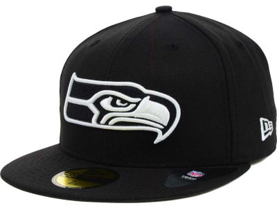 Seattle Seahawks NFL Black And White 59FIFTY Cap Hats