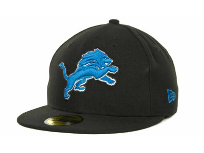 Detroit Lions NFL Black Team 59FIFTY Cap Hats