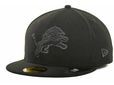 Detroit Lions NFL Black Gray Basic 59FIFTY Cap Hats