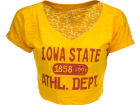 Iowa State Cyclones Blue 84 NCAA Womens Safe Burnout Crop Top T-Shirts