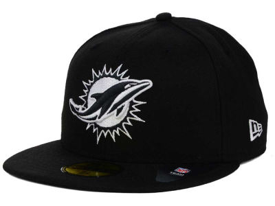Miami Dolphins NFL Black And White 59FIFTY Cap Hats