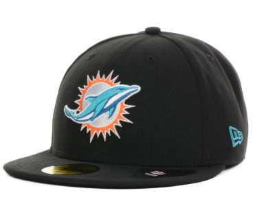 Miami Dolphins NFL Black Team 59FIFTY Cap Hats