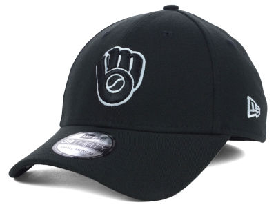 Milwaukee Brewers MLB Black White Classic 39THIRTY Cap Hats
