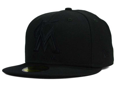 Miami Marlins MLB Black on Black Fashion 59FIFTY Cap Hats
