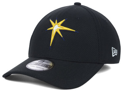 Tampa Bay Rays MLB Diamond Era Black 39THIRTY Cap Hats