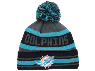 Miami Dolphins NFL Graphite Black Team Color Pop Jake Knit Hats