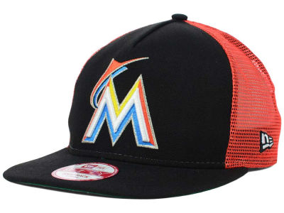 Miami Marlins MLB Team Basic Trucker A-Frame 9FIFTY Snapback Cap Hats