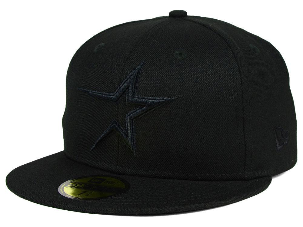 promo code f4995 c71b7 Houston Astros New Era MLB Black on Black Fashion 59FIFTY Cap durable  service