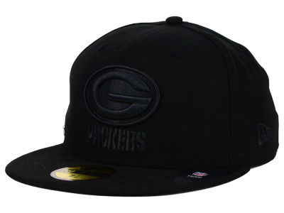 Green Bay Packers NFL Black on Black 59FIFTY Cap Hats