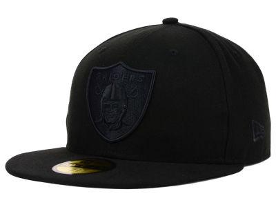 Oakland Raiders New Era NFL Black on Black 59FIFTY Cap  81e9f82cb7c1