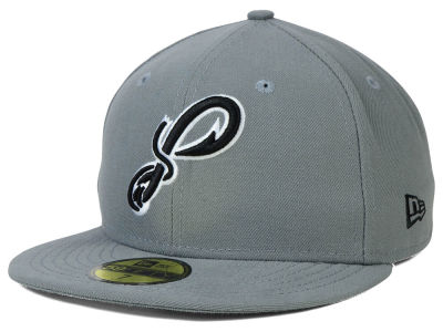Pensacola Blue Wahoos MiLB Gray Black White 59FIFTY Cap Hats