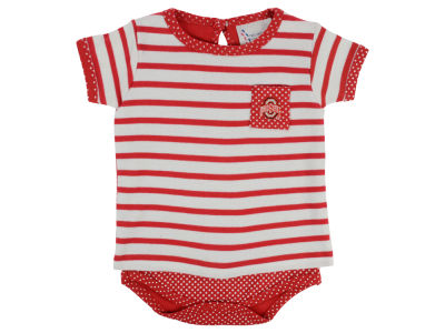 NCAA Infant Girls Pin Dot Stripe Creeper Set