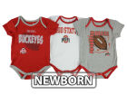 Ohio State Buckeyes adidas NCAA Newborn 3 Points 3-Piece Creeper Set Infant Apparel