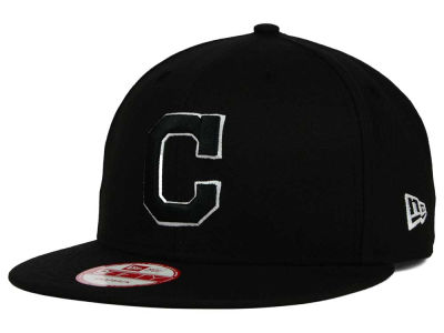 Cleveland Indians MLB Black White 9FIFTY Snapback Cap Hats