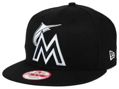 Miami Marlins MLB Black White 9FIFTY Snapback Cap Hats