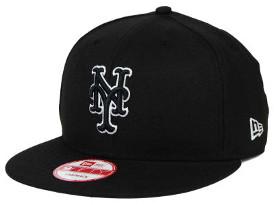New York Mets MLB Black White 9FIFTY Snapback Cap Hats