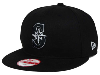 Seattle Mariners MLB Black White 9FIFTY Snapback Cap Hats