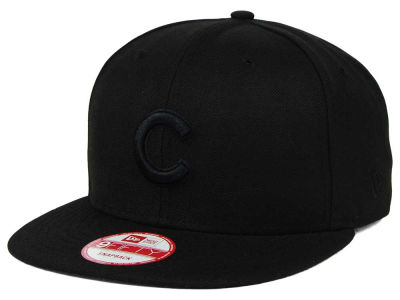 Chicago Cubs MLB Black on Black 9FIFTY Snapback Cap Hats