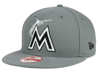 Miami Marlins MLB Gray Black White 9FIFTY Snapback Cap Hats