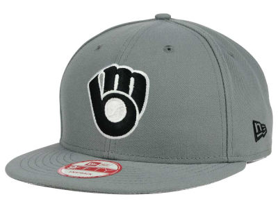 Milwaukee Brewers MLB Gray Black White 9FIFTY Snapback Cap Hats