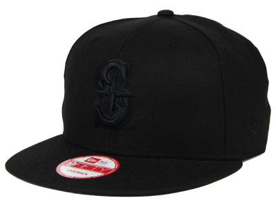 Seattle Mariners MLB Black on Black 9FIFTY Snapback Cap Hats