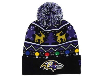 Baltimore Ravens NFL Ugly Sweater Pom Knit Hats
