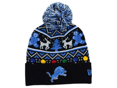 Detroit Lions NFL Ugly Sweater Pom Knit Hats